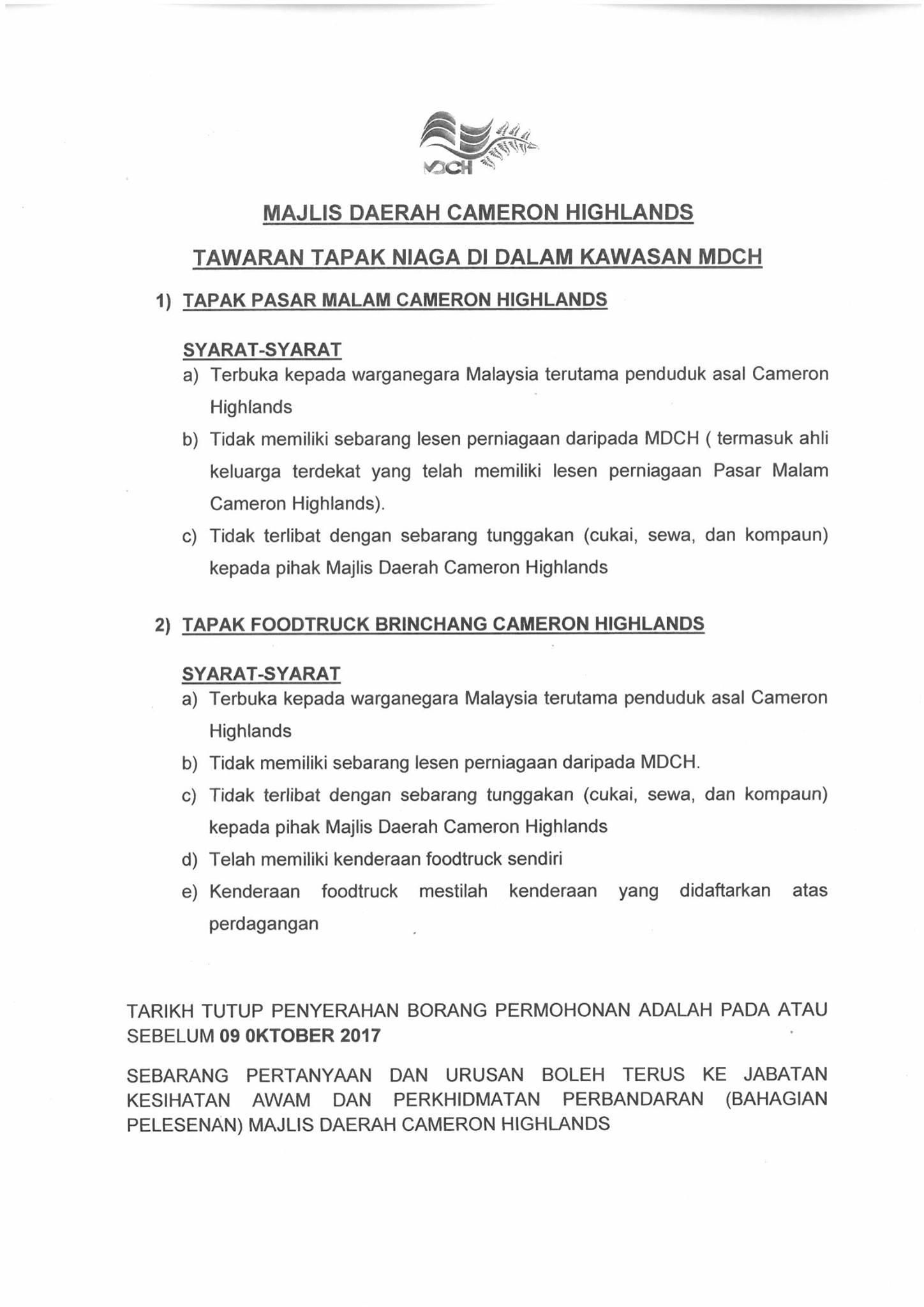 Tawaran Tapak Niaga Dalam Kawasan Mdch Tapak Pasar Malam Cameron Highlands Tapak Foodtruck Brinchang Portal Rasmi Majlis Daerah Cameron Highlands Mdch